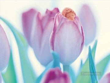 Sleeping Art - Sleeping genius in purple tulip fairy original